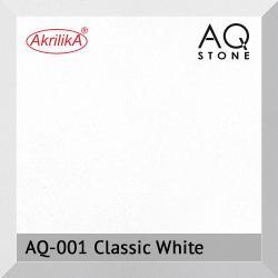 Кварцевый камень Akrilika AQ Stone, цвет AQ-001 Classic White